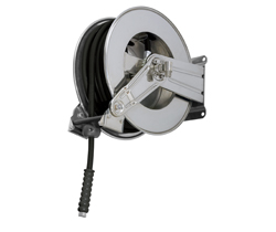 AV1000 Stainless steel spring retracting hose reel black hose