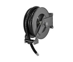 AV1200FE Powder coated spring retracting hose reel black hose