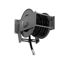 AV2300FE Powder coated spring retracting hose reel black hose