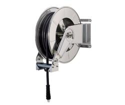 AV3500 Stainless steel spring retracting hose reel black hose