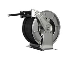 AV3503 Stainless steel spring retracting hose reel black hose