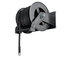 AV6001FE Powder coated spring retracting hose reel black hose