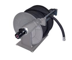 AV6500FE Powder coated spring retracting hose reel black hose