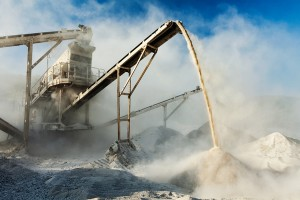 Crusher generating dust - dust suppression