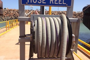 Hose reel on dock