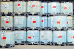 IBCs in warehouse for cleaning